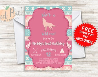 Wild One First Birthday Invite 5x7 Personalized Digital Girl's Wild One 1st Birthday Invitation