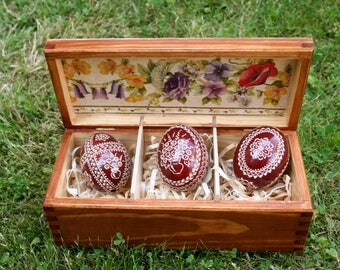 wooden box, easter eggs, pysanky, unique gift, Polish pysanky ,box with Easter eggs