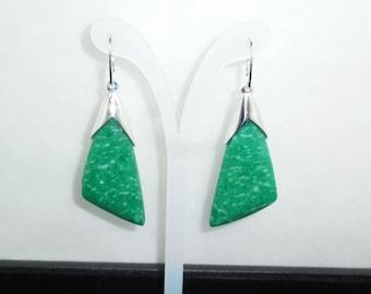 Natural Amazonite 925 Silver Earrings