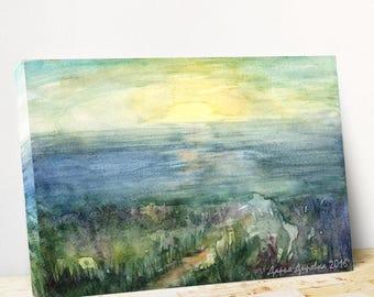 Ocean wall art Ocean canvas art Ocean print canvas Sea landscape canvas Landscape beach watercolor Nautical wall art PaintingOnlineStore