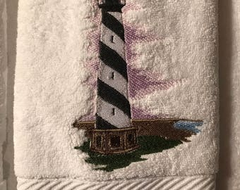 Embroidered Lighthouse Hand Towel.  Set of 2.