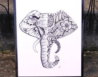 Mandala Elephant Pen And Ink Print - Pattern, Animal, Micron Pen, Art