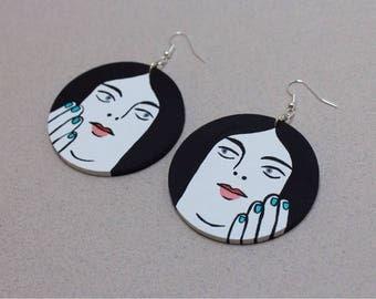 Hand painted wooden drop earrings - Dangling Ladies - Monica