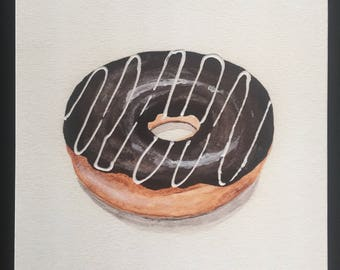 Chocolate Donut | Watercolor | Acrylic | Food Art | Kitchen Art | Print