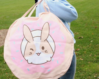 giant round strawberry iced donut niku tote bag