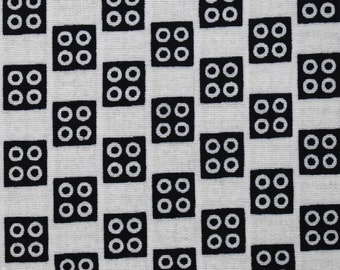 African Print Wax Block Print Sold by the yard 100% cotton Patterned Black white fabric checkered Craft Supplies by Dovetailed London