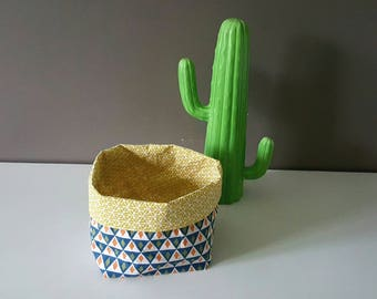 Geometric patterns, fabric basket, blue and yellow mustard, Scandinavian inspired