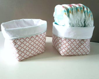 basket fabric, geometric patterns and Japanese, powder pink color pastel pink and white, silver piping