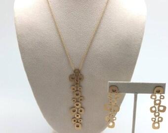 Estate Roberto Coin Designer 18K Yellow Gold Necklace And Earring Set 17 Grams