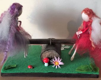 Seesaw Fairies, Needle Felt Fairies, Fun Fairies, Waldorf Inspired Fairies, Fairies,