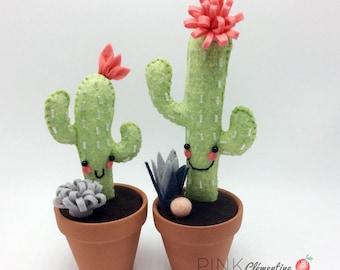 Duo de Mini Cactus en feutre de laine / mini wool felt cactus / terracotta / décoration d'interieur