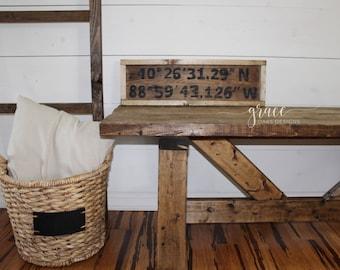 Coordinates Wood Sign