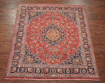 Antique 8X9 Mashad Signed Persian Hand-Knotted Area Rug (8.1 x 9.4) 1940's Oriental Square Carpet
