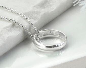 Sterling Silver Secret Message Ring Necklace