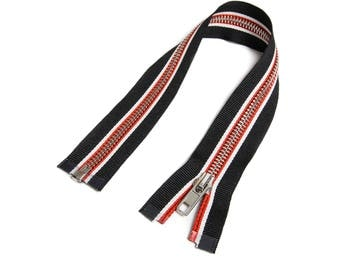 Zipper open end for Biker jackets black/white/red