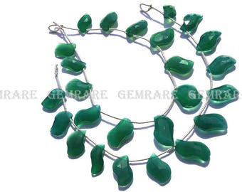 Green Onyx Faceted S-Shape beads, Quality AAA, 7x12.50 to 9.50x19 mm, 18 cm, 13 pieces, GR-066/1, Semiprecious Gemstone beads, Craft Supplie
