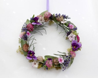 Flower wreath door wreath 16 cm Ø