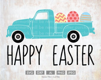 Easter Truck Full of Eggs - Cut File/Vector, Silhouette, Cricut, SVG, PNG, Clip Art, Download, Holidays, Old, Happy Easter, Eggs, Spring,