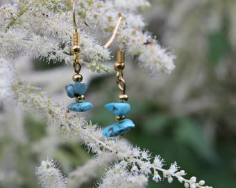 Turquoise earrings / rose quartz