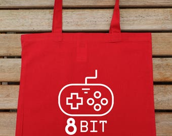 8 Bit Bag, Oldschool Gamer, Gamers Bag, Brothers Bag, Joystick Tote Bag, Hipster Tote, Cotton Tote Bag, Shoulder Bag, Shopping Tote, 211