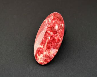 Rare Thulite natural stone cabochon 45 x 22 x 4 mm