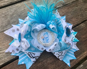 OTT stacked hair bow-christmas snowman and snowflakes - Hair clip