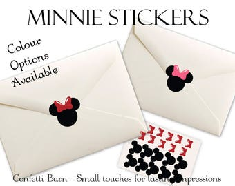 Minnie Mouse Stickers - Minnie with Bow -  Removable Vinyl - Envelope Sealing Stickers - Planner Stickers #74