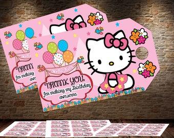Hello Kitty, Hello Kitty Thank You Tags, Hello Kitty Goody Bag Tags, Hello Kitty Favor Tags, Hello Kitty Party Favor Tags,Hello Kitty Topper