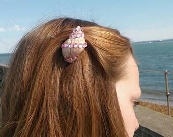 natural sea shell hair clips