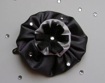 Large barrette in shade of grey taffeta and satin ribbon