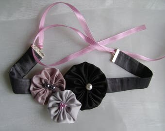 Choker necklace with pastel fabric flowers