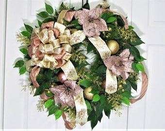 Christmas Wreath,Christmas Decoration,Front Door Wreath,Outdoor Wreath,Hostess Gift,Home Decor,Pine Wreath,Rose Gold Wreath,Holiday Wreath