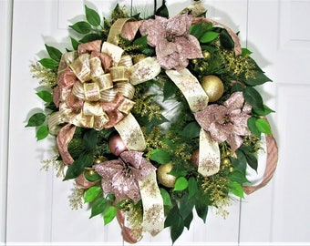 Christmas Wreath,Christmas Decoration,Front Door Wreath,Outdoor Wreath,Hostess Gift,Home Decor,Pine Wreath,Rose Gold Wreath,Holiday Wreath