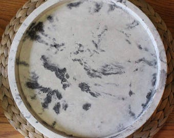 White Marbled Concrete Tray