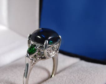 Custom 2.38 Ct. Cushion Black Opal and Chrome Diopside Three-Stone Sterling Silver Ring
