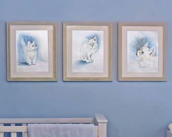 Cat Print Set - Watercolor Prints - Set Of 3 Prints - Wall Art - Cat Lover - Gift For Cat Lover
