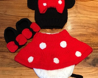 Hand Knitted Minnie Photo Prop Outfit - Made to Order