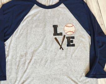 Baseball Raglan, Love Baseball Shirt, Baseball t-shirt, Baseball Mom, Mom Shirt, Raglan