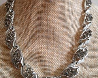 Coro Gray Rhinestone Necklace