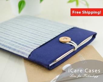 MacBook Pro Case MacBook 2017 MacBook Sleeve 13 Inch MacBook Pro Sleeve New MacBook Pro Cover Cover For MacBook Blue Striped Linen Pocket