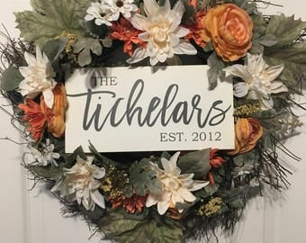 Wreath Sign | Last name sign | Fall sign | Front Door Sign | Personalized sign |
