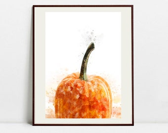 Pumpkin Watercolor Art Print, Pumpkin Illustration, Kitchen Wall art, Kitchen Wall Decor, Vegetable Print