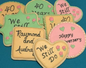 One Dozen Customizable Anniversary Cookies