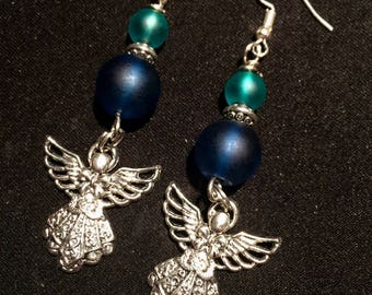 Sea Glass Earings With Angel Handcrafted