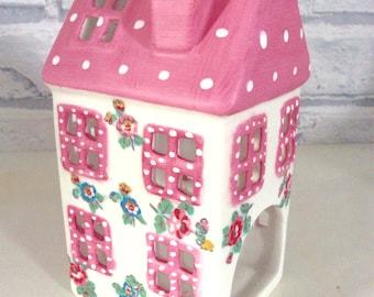 Handmade Cath Kidston ceramic tealight house in Highgate Ditsy