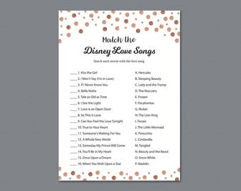 Disney Bridal Shower Games Printable, Match the Disney Love Songs, Rose Gold Confetti, Romantic Quotes, Wedding Shower, Bachelorette, A008