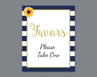 Favors Please Take One Sign Printable, Navy Blue Kate Spade Thank You Sign, Bridal Shower Sign, Wedding Favor Sign, Party Decorations, A027