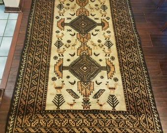 FREE SHIPPING! Vintage Rug, Balouch Rug, Persian Rug, Nomad Rug, 3.5 × 6.5ft