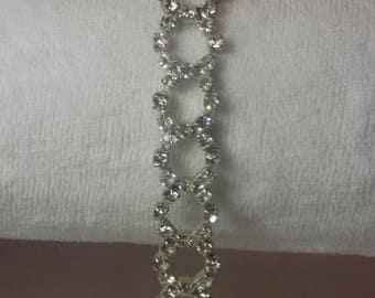 Elegant Vintage *Sparkling* Clear Crystal Rhinestone Bracelet