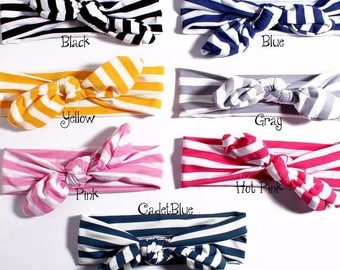 7colors striped Knot Baby Girls Hair Wrap Bands Bunny Rabbit Ears Turban Headbands Turbante Headwraps Accessories